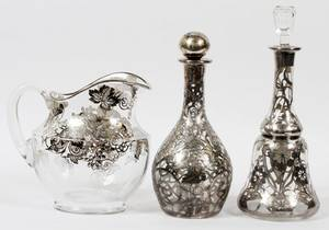ART NOUVEAU SILVER OVERLAY GLASS PITCHER DECANTER
