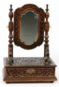 LATE VICTORIAN CARVED WOOD DRESSING MIRROR