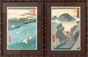 HIROSHIGE JAPANESE WOODBLOCK PRINTS PAIR