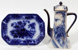 FLOW BLUE PLATTER  DOULTON COFFEE POT LATE 19TH
