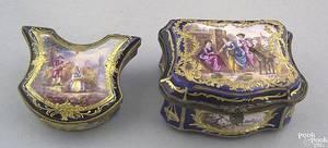 Two Sevres porcelain dresser boxes 18th19th c