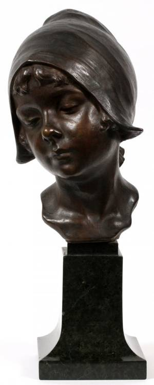 FRENCH BRONZE BUST OF A YOUNG WOMAN