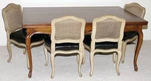 COUNTRY FRENCH WALNUT DINING TABLE  CHAIRS