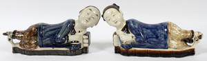 CHINESE PORCELAIN FIGURAL PILLOWS TWO