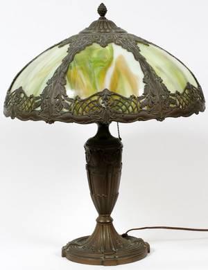 LEADED GLASS METAL TABLE LAMP