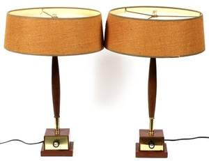 MIDCENTURY MODERN TEAK AND BRASS TABLE LAMPS