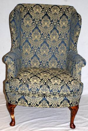 QUEEN ANN STYLE UPHOLSTERED WING BACK ARM CHAIR