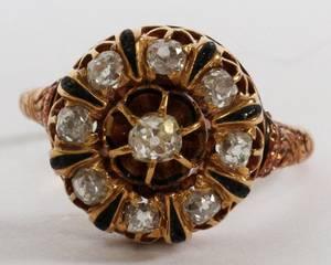 ANTIQUE 14KT ROSE GOLD  DIAMOND RING