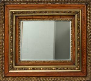 BEVEL GLASS GILT WOOD FRAMED WALL MIRROR