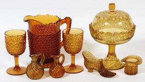 AMBER GLASS  HOBNAIL TABLE WARE C 1870 8