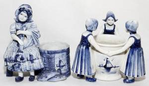 DUTCH PORCELAIN FIGURAL TOOTHPICK HOLDERS TWO