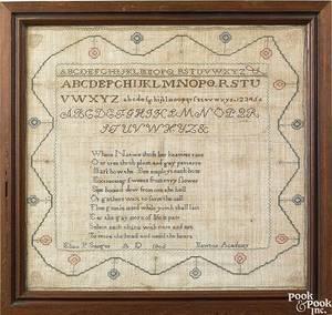 New Jersey silk on linen Quaker sampler dated 1805