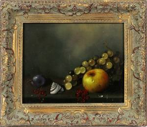 OIL ON WOOD PANEL STILL LIFE OF FRUIT MODERN
