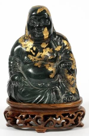 CHINESE SPINACH JADE SEATED BUDDHA