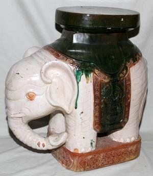 GLAZED CERAMIC ELEPHANT GARDEN SEAT