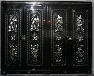 CHINESE BLACK LACQUER  MOTHEROFPEARL ARMOIRE