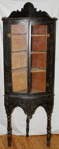 CHINESE CARVED HARDWOOD TWOPART CORNER CABINET
