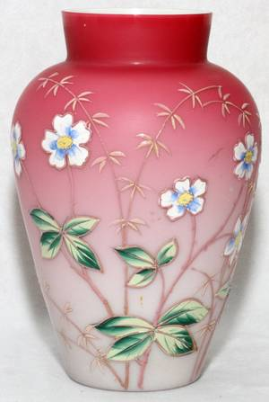 Realized Price For Victorian Cased Glass Vase W