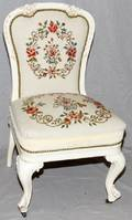 ITALIAN CARVED  WHITE PAINTED SIDE CHAIR