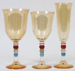ART DECO ITALIAN AMBER GLASS STEMWARE 48 PIECES