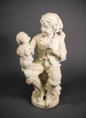 Italian Carrara Marble Figural Sculpture Signed