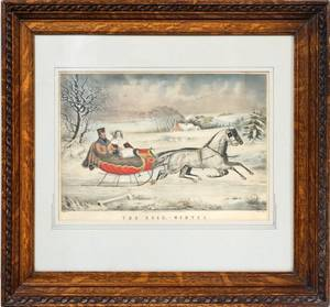CURRIER  IVES LITHOGRAPH THE ROAD WINTER