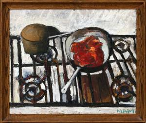 OIL ON CANVAS STILL LIFE STOVE