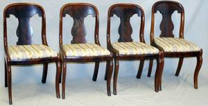 AMERICAN EMPIRE MAHOGANY CHAIRS C 1840 FOUR