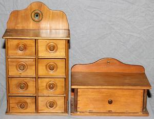 AMERICAN HANGING SPICE BOXES LATE 19TH C TWO