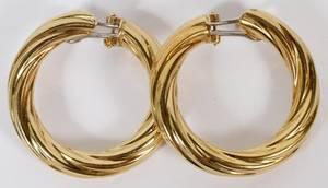 18KT YELLOW GOLD HOOP EARRINGS 9GR