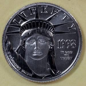 US 110 OZ PLATINUM 10 COIN 1998 MINTAGE 39525