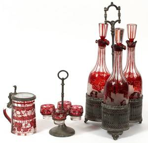BOHEMIAN CRANBERRY ETCHED GLASS DECANTER SET