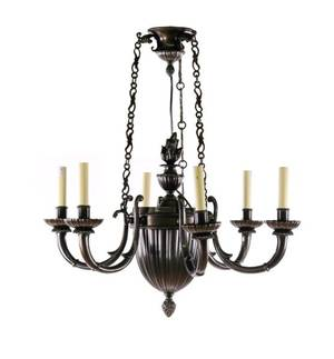 French Style Patinated Bronze 6 Light Chandelier