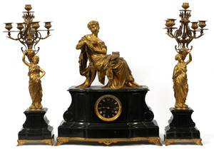 FRENCH GILT BRONZE  MARBLE CLOCK GARNITURE SET