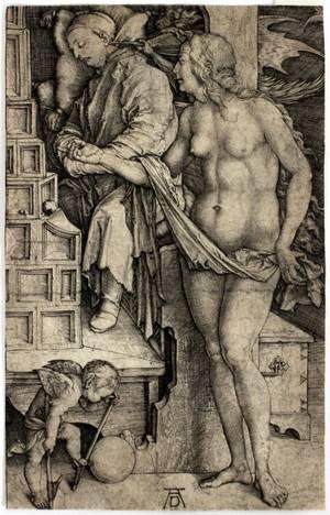 ALBRECHT DURER ENGRAVING TEMPTATION OF THE DOCTOR