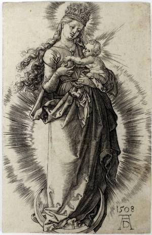 ALBRECHT DURER ENGRAVING VIRGIN ON THE CRESCENT