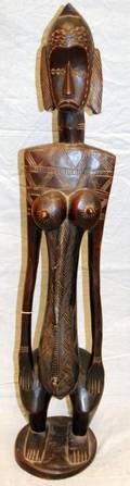 AFRICAN SENUFO CARVED FEMALE FIGURE IVORY COAST