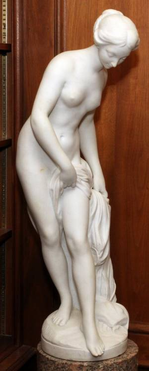 AFTER FALCONET CARVED MARBLE SCULPTURE