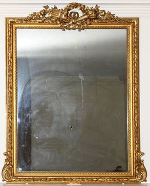 FRENCH STYLE GILT WOOD MIRROR OVERALL
