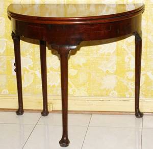 QUEEN ANNE MAHOGANY DEMI LUNE GAME TABLE 18TH C