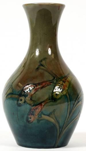 MOORCROFT POTTERY VASE W FISH MOTIF C 1930