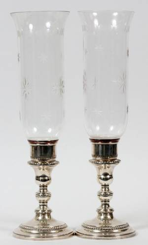 STERLING AND CUT CRYSTAL HURRICANES 2 PCS