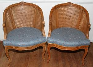 031068 FRENCH LOUIS XV STYLE WALNUT  CANE CHAIRS