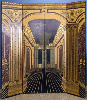 ART DECO STYLE PATINATED WOOD FOURPANEL SCREEN
