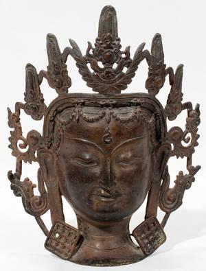 061064 ASIAN BRONZE HEAD OF A BODHISATTVA H 9 34