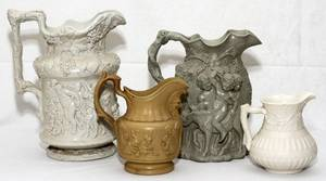 041094 ENGLISH GLAZED CERAMIC PITCHERS MID 19TH C