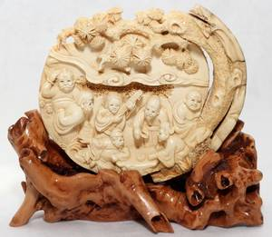 031108 CHINESE IVORY CARVING OF THE SEVEN LUCKY GODS