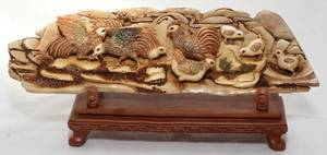 031105 CHINESE CARVED IVORY PANEL H 3 L 10