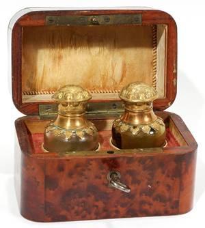 031160 VICTORIAN BURL WALNUT ROSEWOOD  PERFUME BOX