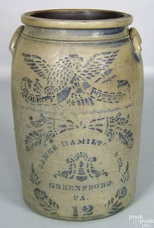 Greensboro Pennsylvania 12 gallon stoneware crock 19th c